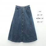 vintage skirt : กระโปรงยีนส์เอวสูงทรงบาน แต่งกระดุมหน้า ผ้ายีนส์เนื้อหนา