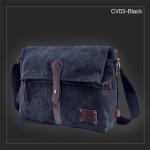 CV03-Black กระเป๋าสะพายข้าง ผ้าแคนวาส สีดำ