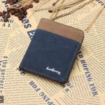( ลดล้างสต๊อค ) WS02-Blue แนวตั้ง กระเป๋าสตางค์ใบสั้น กระเป๋าสตางค์ผู้ชาย ผ้าแคนวาส สีน้ำเงิน