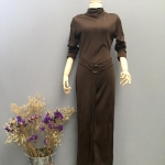 Vintage jumpsuit : จั๊มสูทขายาว แพทเทิร์นเข้ารูป แต่งเข็มขัด เนื้อผ้ามองตากูร์ความยืดหยุ่นและนิ่ม