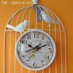 นาฬิกาแขวนแต่งบ้าน รูปกรงนกติดผนัง สีขาว
