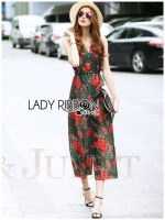 Lady Ribbon's Made Lady Emily Red Flower Printed Jumpsuit with Black leather Belt