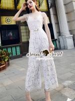 Seoul Secret Say's... Luxy Cami Lace Playsuit Dotty SeeThrough Set