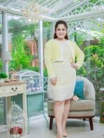 4 Size= M,L,XL,2XL ชุดเดรสเสื้อคลุมผ้า Varantino แยกชิ้น ชุดเป็นผ้าคอตตอลปักไหมญี่ปุ่นผ้านำเข้าสีเหลือง ปักฉลุ