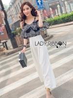 Lady Alana Casual Chic Monochrome Printed Chiffon Jumpsuit