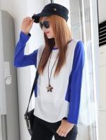 เสื้อยืด แขนยาว คอกลม เสื้อสีขาวแขนสีน้ำเงิน รหัส 44109-น้ำเงิน