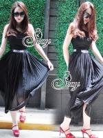 Sevy Moshino Pleat Chiffon Long Skirt