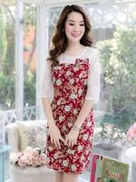 XL830 ชุดแซกผ้า Canvas TM พื้นแดง ลายดอก ด้านบนและแขนตัดต่อผ้าลูกไม้