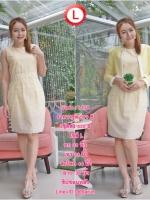ราคา1ชุด 590 ฿ 3ชุดส่ง 490 ฿ ชุดเดรสเสื้อคลุมผ้า Varantino แยกชิ้น ชุดเป็นผ้าคอตตอลปักไหมญี่ปุ่นผ้านำเข้าสีเหลือง ปักฉลุ