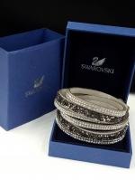 Swarovski Bracelet ข้อมือหนังกลับงานชวารอฟสกี้ เงิน