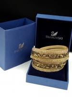Swarovski Bracelet ข้อมือหนังกลับงานชวารอฟสกี้ ทอง