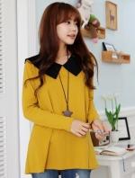 เสื้อแฟชั่น คอปกสีดำ แขนยาว ผ้ายืด เสื้อสีเหลือง รหัส 44111-เหลือง