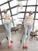 Cliona made ' Ciara Diamond Lace Denim Jean