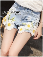 Lady Ribbon's Made Lady Sophie Summer Daisy Embroidered Denim Hot Pants