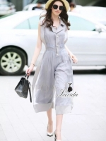 Korea Design By Lavida hi-end two tone gray sleeveless feminine jumpsuit