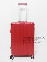 กระเป๋าเดินทางล้อลาก วัสดุ PP สีแดง ไซส์ 24 นิ้ว ขอบอลูมิเนียม
