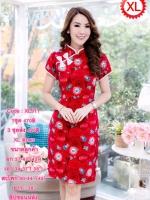 XL911ชุดเดรสคอจีน ติดโบว์ ผ้าดัชเช่เนื้อหนานุ่ม โทนสีแดง ลวดลายสวยงามทันสมัย ดูโดดเด่น