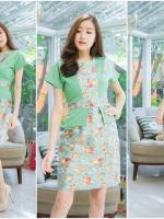 M,L,XL, 3XL ,5XL ชุดเดรส-ชุดเดรสไซส์ใหญ่ ทรงสูทผ้า Hanako สีเขียว ชุดและขอบเอวผ้าไหมลายดอก