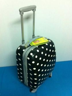 กระเป๋าเดินทาง PC 16 นิ้ว สีดำ ลายจุด Polka Dot 4 ล้อ