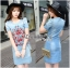 Lady Ribbon's Made Lady Jane Red Rose Embroidered Denim Dress thumbnail 1