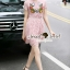Seoul Secret Say's... Salmon Pink Lace Chic Bloom Stick Dress thumbnail 5
