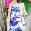 Lady Grace Sexy Elegant White and Blue Printed Cut-Out Back Maxi Dress thumbnail 6