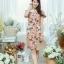XL777ชุดเดรสผ้า Canvas พื้นส้มลายดอก แต่งปก กระเป๋า ติดโบว์ ผ้าสีขาว เพิ่มความน่ารักให้กับชุด thumbnail 2