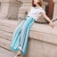 Cut off embroidery white blouse and blue stripe print flares set by Sweet Bunny thumbnail 1