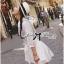 Lady Ribbon's Made Self-Portrait Insert Lace Cotton Shirt Dress with Ribbon thumbnail 2