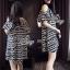 Sevy Geometric Striped Contrast Cut Shoulder Mini Dress thumbnail 4