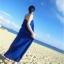 ชุดเดรสยาวใส่ไปเที่ยวทะเลสีน้ำเงิน สายเดียว ทรงหลวม ใส่ไปทะเล สบายๆ thumbnail 5