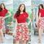 M, 3XL ,5XL ชุดเดรส-ชุดเดรสไซส์ใหญ่ เสื้อผ้าชีฟอง สีแดง คอจับจีบ ขอบเอวแต่งสีขาว กระโปรง ผ้า Hanako thumbnail 3