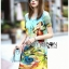 Lady Jennifer Casual Vivid Color Mix Printed Chiffon Dress สีฟ้า thumbnail 2