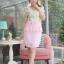 ชุดเดรสเสื้อลูกไม้นิ่มยืดหยุ่น ทอลวดลายสวยงามโทนสีหวานๆ กระโปรงผ้าชีฟองสีชมพู thumbnail 1