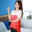 เสื้อแฟชั่น คอกลม แขนสั้น ผ้าชีฟอง เสื้อสีขาวตัดสีแดงส้ม รหัส 44123-แดง thumbnail 3