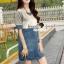 Seoul Secret Say's... Sweet Gray Stripe Denim Dress thumbnail 1