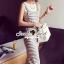 Seoul Secret Say's... Chic Stripy bib Dress สีเทา thumbnail 3