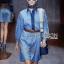 Lady Ribbon's Made Gucci Blue Denim Cotton and Lace Shirt Dress thumbnail 2