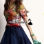 Vivivaa recommend Clorly flora shirt denim skirt dress thumbnail 1