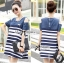 Lady Ribbon's Made Lady Rita Casual Style Cut-Out Denim Striped Dress thumbnail 4