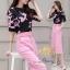 เสื้อ+กางเกง แบบแขนสามส่วนพิมพ์ลายดอกไม้โทนสีชมพู thumbnail 5