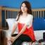 เสื้อแฟชั่น คอกลม แขนสั้น ผ้าชีฟอง เสื้อสีขาวตัดสีแดงส้ม รหัส 44123-แดง thumbnail 10