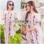 Lady Ribbon's Made Lady Lea Boho Colourful Flower Embroidered Midi Dress สีขาว thumbnail 1