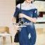 Seoul Secret Say's... Lacely Colar Denim Dress สีเข้ม thumbnail 2