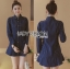 Lady Grace Minimal Chic Striped Peplum Denim Shirt Dress thumbnail 2