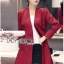 Lady Ribbon's Made Lady Samantha Smart Chic Double-Breasted Cotton Dress สีแดง thumbnail 4