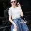 Korea Design By Lavida Luxury white premium lace top denim skirt pretty set thumbnail 1