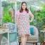 3 Size= XL,3XL,5XL ชุดเดรสสาวอวบ++ผ้า Sanfox พื้นขาว ทอลายดอกชมพู จุดเด่นของชุดนี้ตัดต่อด้านบน และแขนด้วยผ้า Hanako สีชมพู thumbnail 1