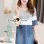 Seoul Secret Say's... Sweet Gray Stripe Denim Dress thumbnail 5