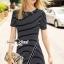 Seoul Secret Say's... Stripy Knit Chic Dress สีดำ thumbnail 3